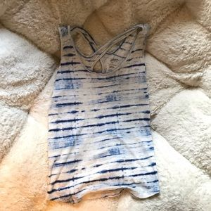 Gilligan&O'Malley blue and white striped tank top